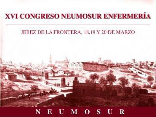 XVI CONGRESO NEUMOSUR ENFERMER A  JEREZ DE LA FRONTERA, 18,19 Y 20 DE MARZO