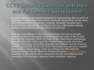 CCTV Security Cameras and their use for Remote Surveillance