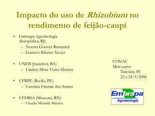 Impacto do uso de Rhizobium no rendimento de feij o-caupi