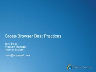 Cross-Browser Best Practices