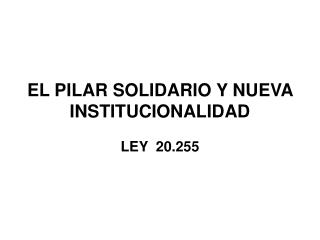EL PILAR SOLIDARIO Y NUEVA INSTITUCIONALIDAD