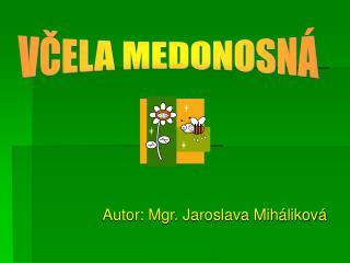 Autor: Mgr. Jaroslava Mih likov