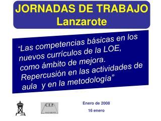 JORNADAS DE TRABAJO Lanzarote
