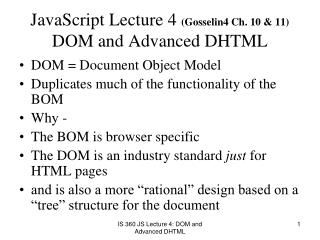JavaScript Lecture 4 Gosselin4 Ch. 10  11  DOM and Advanced DHTML