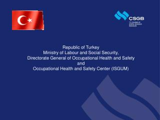 Republic of Turkey Ministry of Labour and Social Security,  Directorate General of Occupational Health and Safety and  O