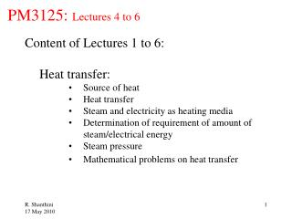 PM3125: Lectures 4 to 6