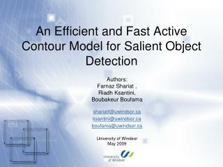 An Efficient and Fast Active Contour Model for Salient Object Detection