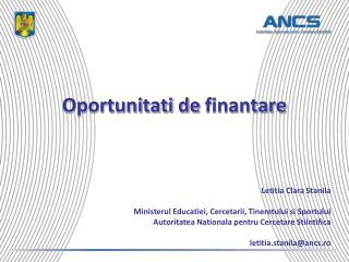 Oportunitati de finantare