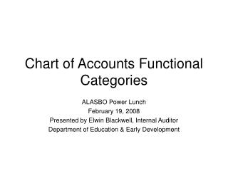 Chart of Accounts Functional Categories