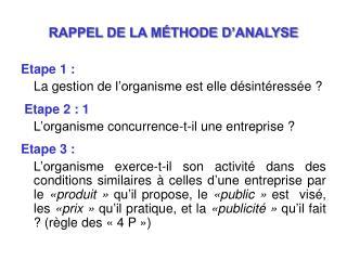 RAPPEL DE LA M THODE D ANALYSE