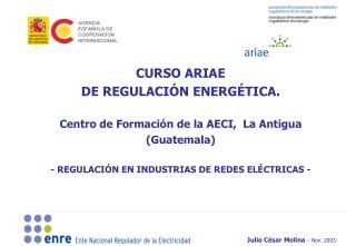 CURSO ARIAE  DE REGULACI N ENERG TICA.    Centro de Formaci n de la AECI,  La Antigua  Guatemala  - REGULACI N EN INDUST