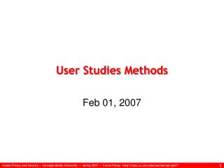 User Studies Methods