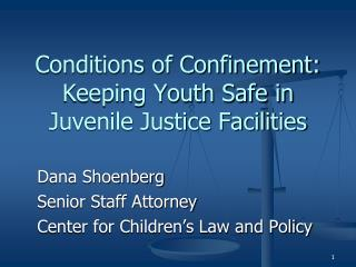 Conditions of Confinement:  Keeping Youth Safe in Juvenile Justice Facilities
