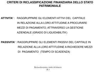 Riclassificazione e indici di bilancio   2E 1
