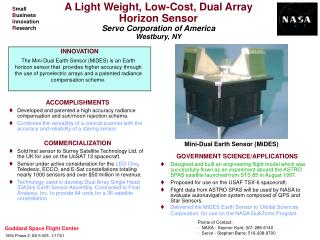 A Light Weight, Low-Cost, Dual Array  Horizon Sensor  Servo Corporation of America Westbury, NY