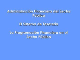 Administraci n Financiera del Sector P blico  El Sistema de Tesorer a  La Programaci n Financiera en el Sector P blico
