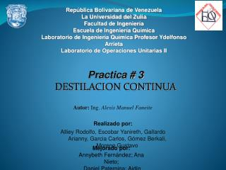 Rep blica Bolivariana de Venezuela La Universidad del Zulia Facultad de Ingenier a Escuela de Ingenier a Qu mica Laborat