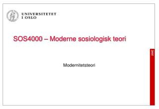 SOS4000   Moderne sosiologisk teori