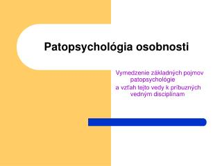 Patopsychol gia osobnosti