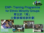 EMP- Training Programme for Ethnic Minority Groups