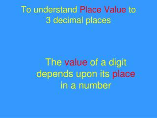 To understand Place Value to 3 decimal places