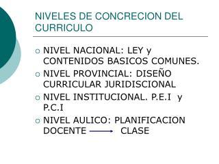 NIVELES DE CONCRECION DEL CURRICULO