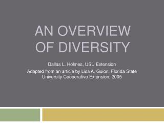 An Overview of Diversity
