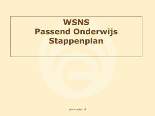 WSNS Passend Onderwijs Stappenplan
