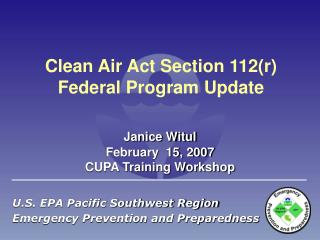 Clean Air Act Section 112r Federal Program Update