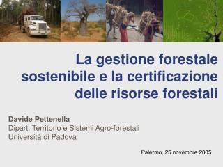 La gestione forestale sostenibile e la certificazione delle risorse forestali