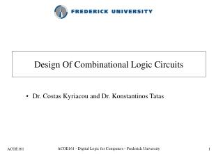 Design Of Combinational Logic Circuits