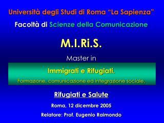 Universit  degli Studi di Roma  La Sapienza  Facolt  di Scienze della Comunicazione   M.I.Ri.S. Master in  Immigrati e R