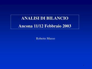 ANALISI DI BILANCIO  Ancona 11