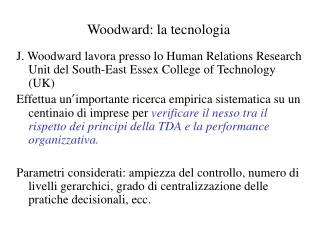 Woodward: la tecnologia
