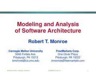 Modeling and Analysis of Software Architecture
