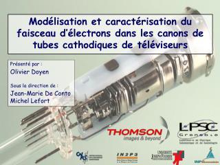Mod lisation et caract risation du faisceau d  lectrons dans les canons de tubes cathodiques de t l viseurs