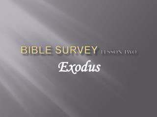 Bible survey Lesson Two