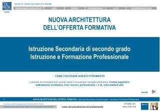 NUOVA ARCHITETTURA DELL OFFERTA FORMATIVA    Istruzione Secondaria di secondo grado Istruzione e Formazione Professional
