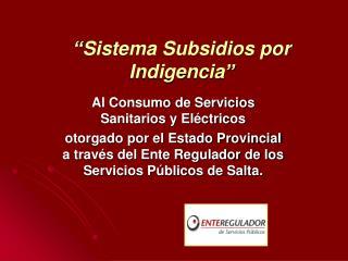 Sistema Subsidios por Indigencia