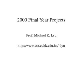 2000 Final Year Projects