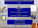 CENTRE NATIONAL POUR LE DEVELOPPEMENT DU SPORT CNDS