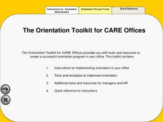 The Orientation Toolkit for CARE Offices