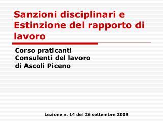 Sanzioni disciplinari e Estinzione del rapporto di lavoro
