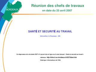 R union des chefs de travaux           en date du 25 avril 2007