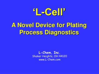 L-Cell   A Novel Device for Plating Process Diagnostics