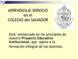 APRENDIZAJE SERVICIO  en el COLEGIO del SALVADOR