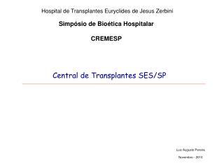 Simp sio de Bio tica Hospitalar  CREMESP