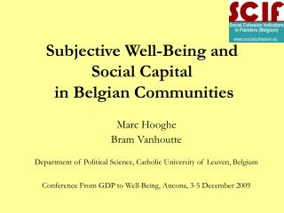 Subjective Well-Being and Social Capital  in Belgian Communities