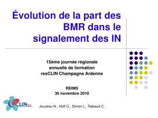 volution de la part des BMR dans le signalement des IN