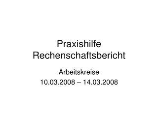 Praxishilfe Rechenschaftsbericht